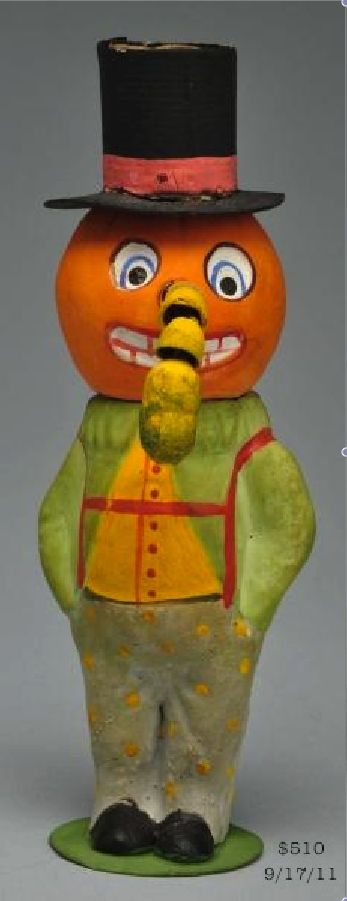 figural jol clown candy container with unusual articulated nose german 1920s - German Halloween Decorations