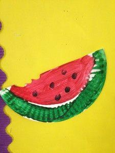 watermelon paper plate preschool craft