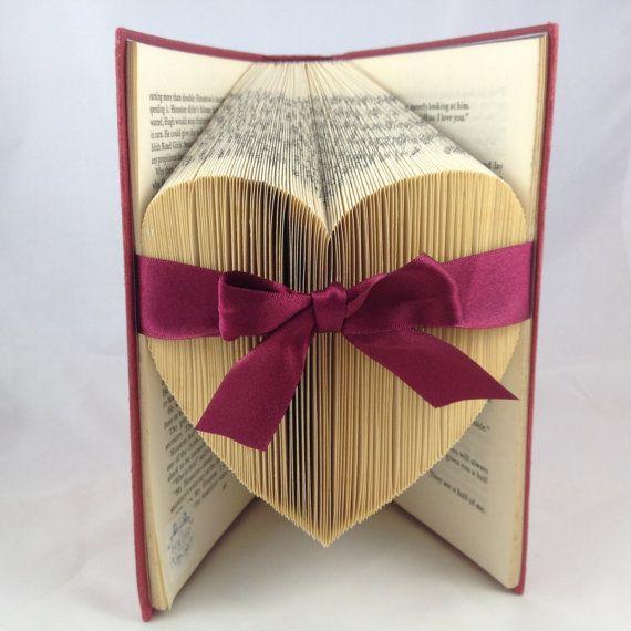 Folded Large Heart Upcycled Book Art by TheFoldedPageShop on Etsy, £36.50