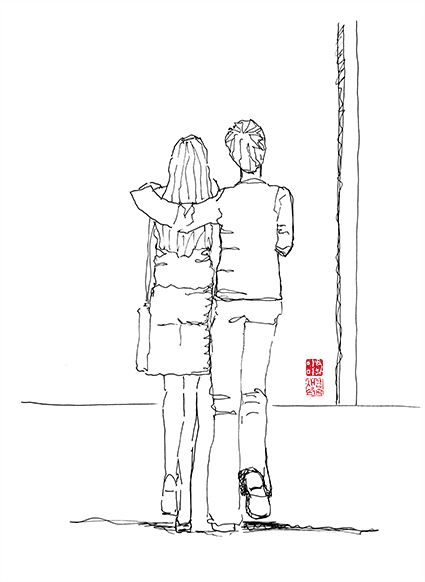 pen illustration_지하철을 기다리다가 함께 걸어가는 연인을 그리다
