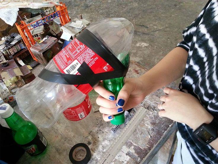 Diy pet bottle megaphone pet bottle bottle and school for Pet bottles recycling ideas