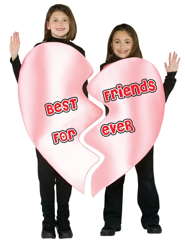 best friends forever heart halloween costume for girls kids size this would be an easy thing to make with valentine be mine heart for february - Matching Girl Halloween Costume Ideas