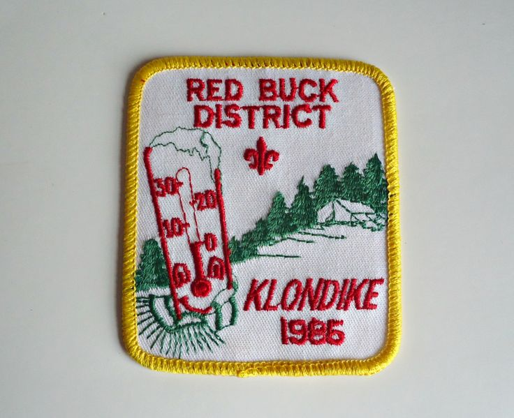 Vintage Boy Scouts Patch Red Buck District Klondike Derby Embroidered Badge 1985 by treasurecoveally on Etsy