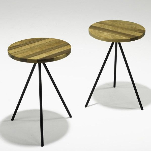 norman cherner walnut and enameled steel occasional tables for konwiser collection 1950s
