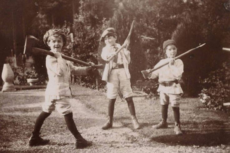 |George, John and Peter Llewelyn Davies in The Boys Castaways—a picture book made by J.M Barrie of the boys' adventures during the summer of 1901.