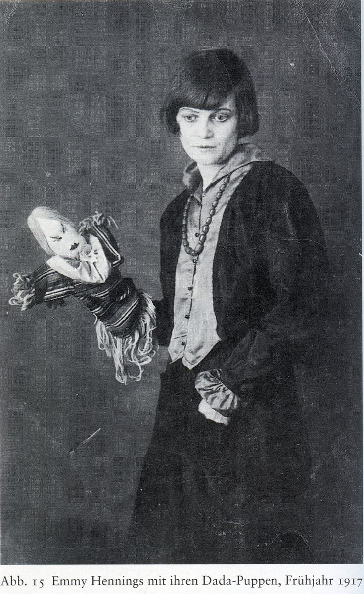 Emmy Hennings with dada puppets, 1917