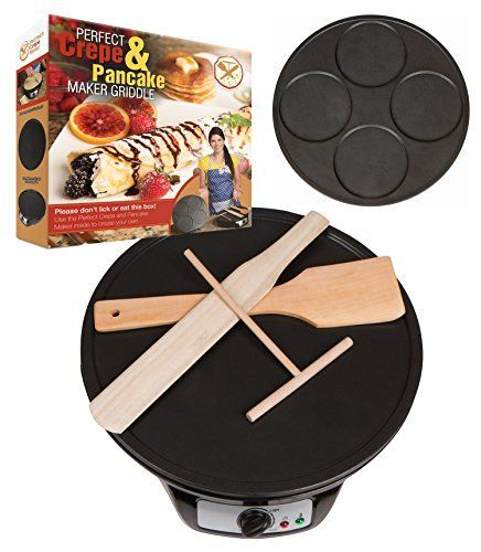 #6: Perfect Pancake and Crepe Maker Machine 2 Interchangeable Non-Stick Electric Griddle Pans Includes Wooden Spreader Spatula Turner Batter Mix Starter Recipes Perfect Interchangeable Non Stick Electric Spreader ranks among the best of the top selling products in Kitchen  category in Canada. Click below to see its Availability and Price in YOUR country.