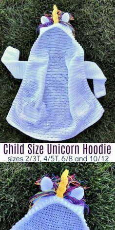Padrão de crochê de tamanho de criança unicórnio com capuz (tamanho 10/12)