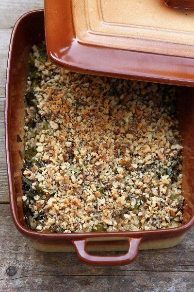 Мусака с ориз, праз, листа от червено цвекло  и орехи