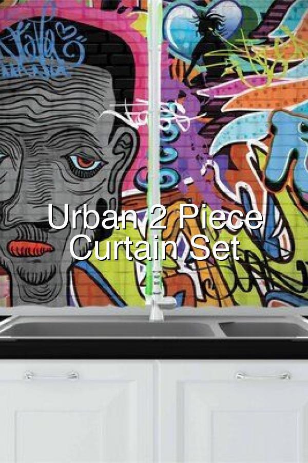 Urban 2 Piece Kitchen Curtain Set In 2020 Painted Doors Wall Painting Urban Graffiti