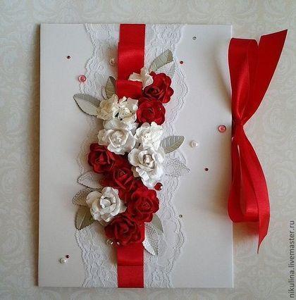 """"""" Все на красное"""" Папка для свидетельства о браке - красно белая свадьба"""