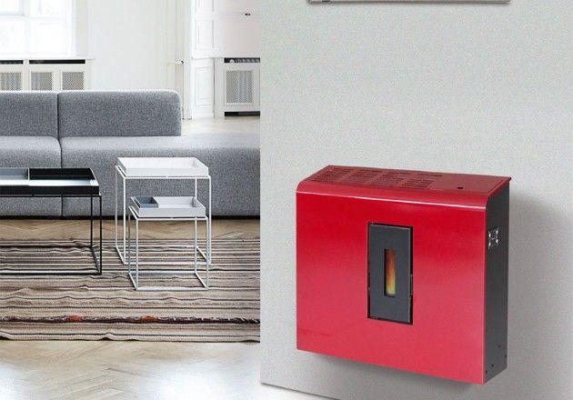 Estufa pellet Trilli diseño y moderna, colgada en la pared, de 4,5kw. Pensando para estancias pequeñas.
