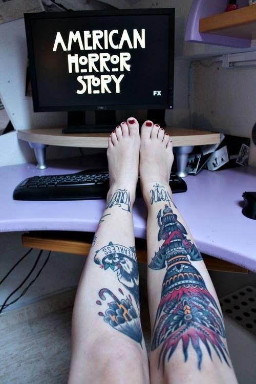 #american #horror #story #ink #tattoo #legs | InkSpired ... American Horror Story Season 4 Freakshow