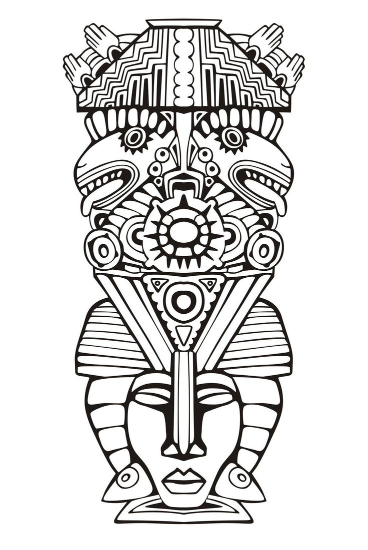 Free coloring page coloring-adult-totem-inspiration-inca-mayan-aztec-6. Totem inspired by Aztecs, Mayans and Incas - 6 (Source : rocich / 123RF)