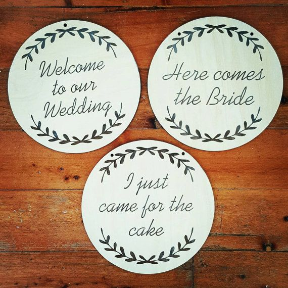 Laser engraved Welcome To Our Wedding, Here Comes The Bride and I just came for the cake plaques. The perfect timber accessories for your rustic wedding.