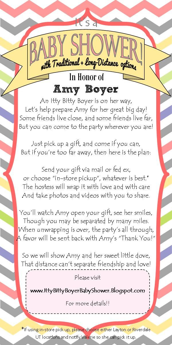 Long Distance Baby shower Invitation- I wrote this cute little poem ...