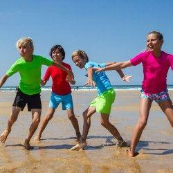 Surf_Kleding_Strand Meisjes - Water T-shirt UV kind groen TRIBORD - Bovenkleding Meisjes