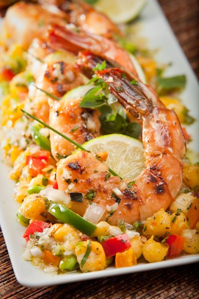 Grilled jalapeño-mint shrimp with hominy succotash. Use a grill pan if you don't have a grill.