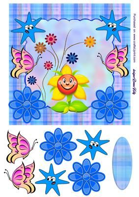 sunshine blue card on Craftsuprint designed by Donna Kelly - Bright colourful card for many occasions, just use your own sentiment, approx. 7x7 card front, blank tag included - Now available for download!
