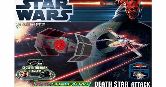 BABY-TOYS Micro Scalextric Death Star Attack Star Wars Set. This awesome star wars micro scalextric set features a glow in the dark track, illuminated spaceships and power level hand-controllers!1:64 scale.Track length: 3.78m.Spac (Barcode EAN = 5020010017329) http://www.comparestoreprices.co.uk//baby-toys-micro-scalextric-death-star-attack-star-wars-set-.asp