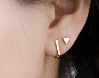 Awesome Triangle Stud Earrings Sterling Silver Gold Plated Studs