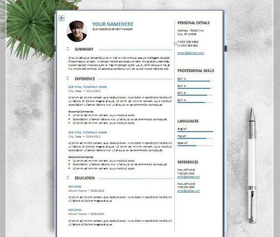 Professional Resume Template for Word, 2 Page Resume, Modern Resume