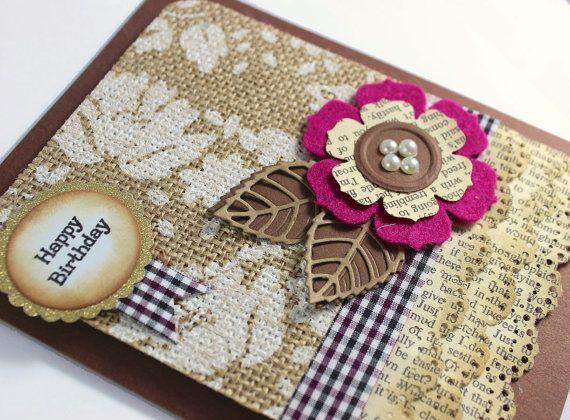 Happy Birthday  Handmade Card  Burlap Fabric  Felt by CardamomsArt