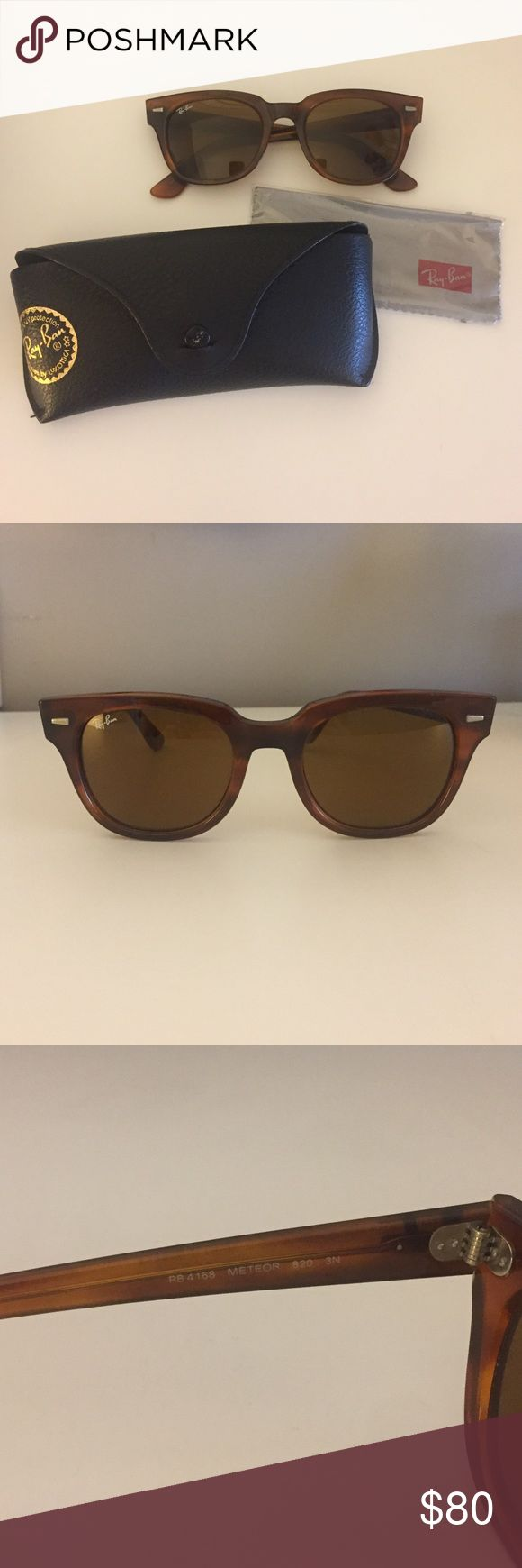 """Brown Ray-Bans, style """"Meteor"""" Brown """"Meteor"""" Ray-Bans. Lightly worn, in excellent condition. Comes with original case and unopened cleaning tool. Ray-Ban Accessories Sunglasses"""