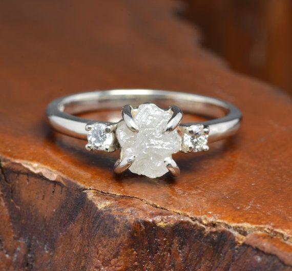 1.3 Carat Rough Diamond Engagement Ring Three Stone Setting