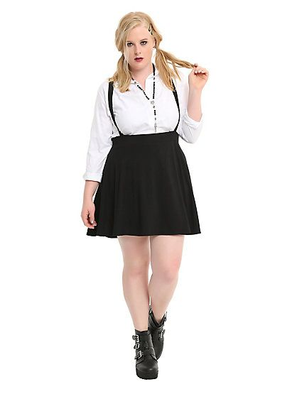 Black Suspender Circle Skirt Plus SizeBlack Suspender Circle Skirt Plus Size, BLACK