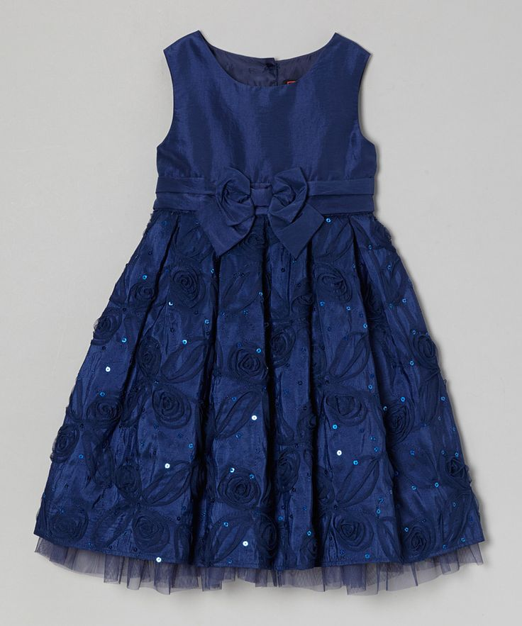 Take a look at this Little Miss Navy Julia A-Line Dress - Toddler & Girls on zulily today!