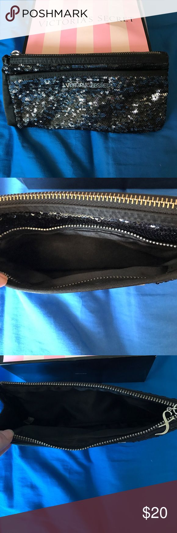 Victoria's Secret Sequined clutch EUC Victoria's Secret black sequined clutch. Super cute and a great way to snazz up any outfit!! Victoria's Secret Bags Clutches & Wristlets
