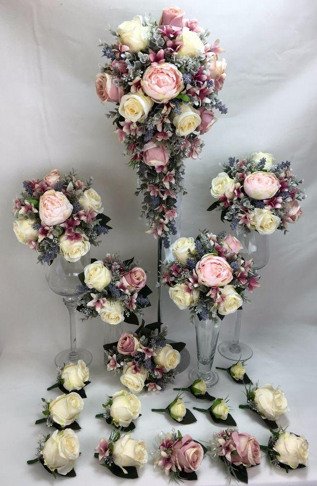 L/Pink Peony/Dusty Pink/Cream Rose Artificial Flower Wedding Bouquet Set.