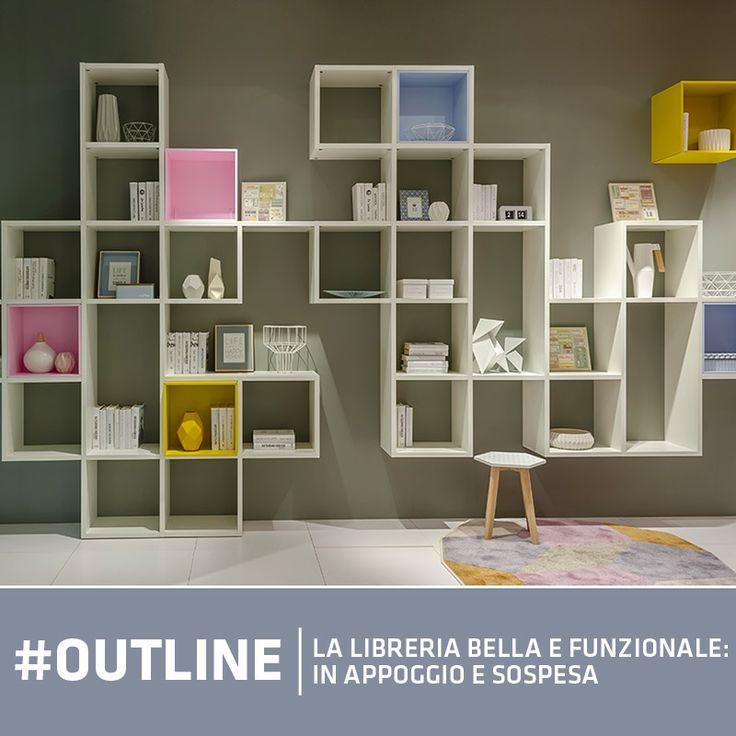 La #libreria Outline è estremamente duttile e #componibile. Può essere fissata in appoggio o sospesa