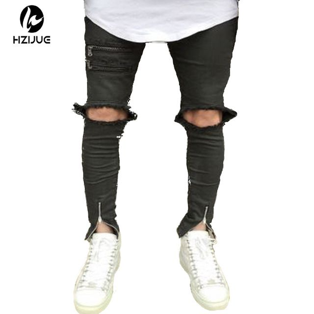 Fair price 2017 Fashion Skinny Jeans Men Knees Holes Distressed Biker Jeans Slim stretched high street Jeans Mens vaqueros hombre just only $20.92 with free shipping worldwide  #pantsformen Plese click on picture to see our special price for you