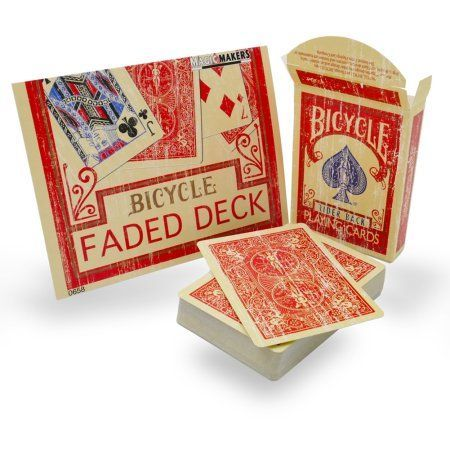 Magic Makers Faded Rider Back Red Bicycle Deck