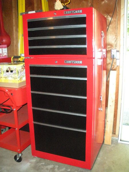 Garage Fridge made to look like a toolbox... I am doing this... effective, immediately.                                                                                                                                                      More