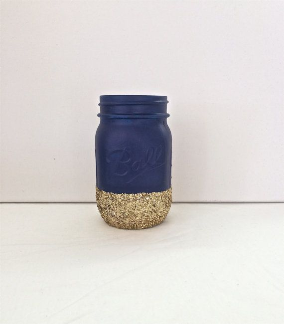 Navy + Gold Glitter Mason Jar. Perfect for Weddings, Birthday Parties, Makeup Brush Holder, Bridal Showers, Nautica $785
