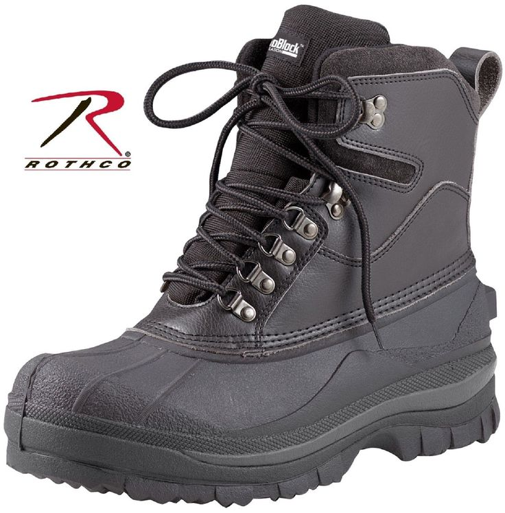 """Black Extreme Cold Weather Hiking Boots - Rothco 8"""" Waterproof Winter Boots 5659"""