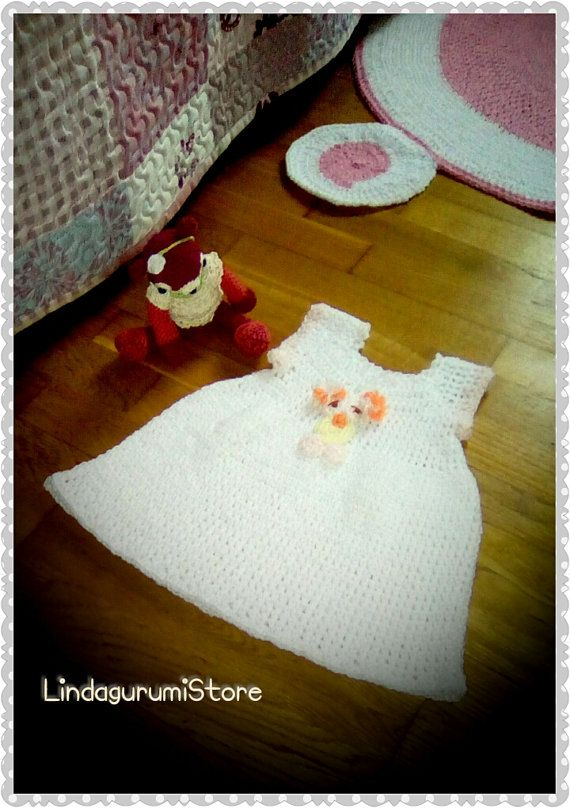 Crochet Handmade White Owl Baby Dress , Christmas girl gift by LindagurumiStore. No pattern ! #crochet #whitedress #babydress #newborn #lindagurumistore Hey, I found this really awesome Etsy listing at https://www.etsy.com/listing/494575873/crochet-baby-girl-newborn-white-dress