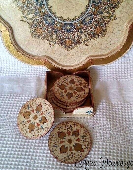 Adisa Decoupage  tray oriental