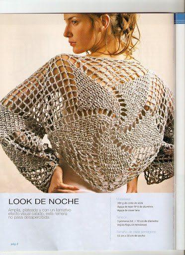 Evening Wear - Crocheted Wind Mill Motif Tunic and Bolero