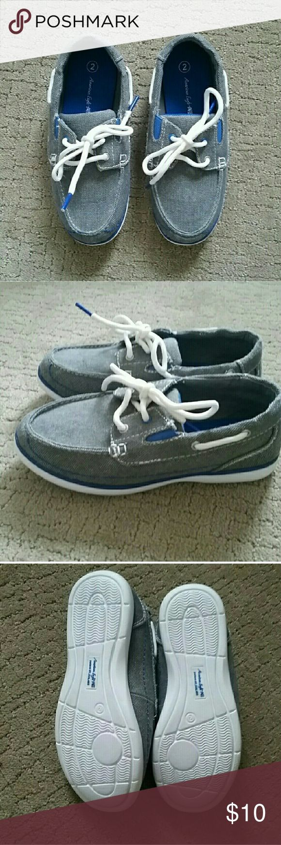 HP Everything Kids Boys Boat Shoes NWOT.  Some little boy will be a dapper fellow in these adorable gray and blue boat shoes. Shoes