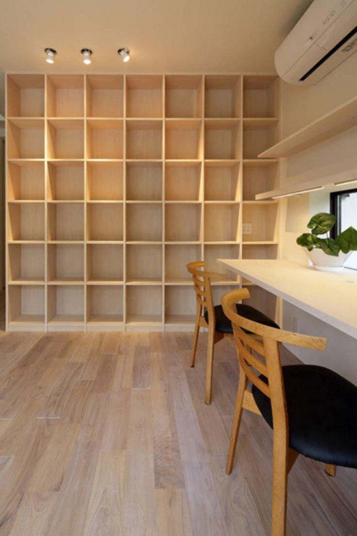 アーキシップス古前建築設計事務所 の 収納 湖風の家 書斎本棚