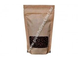 150G KRAFT LOOK STAND UP POUCH WITH K-SEAL BOTTOM & WINDOW | FOOD PACKAGING BAGS