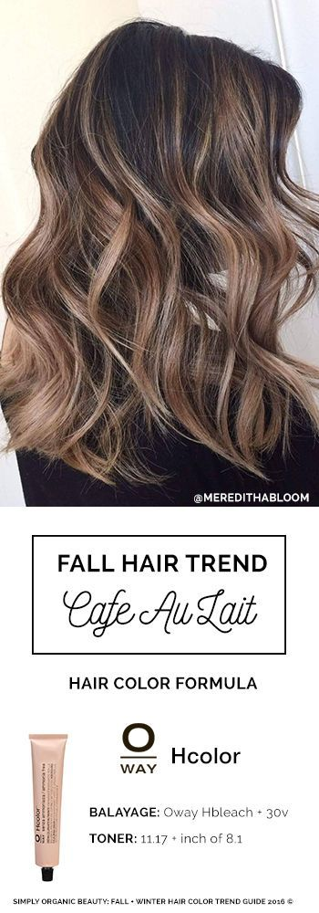 Hello, fall! Dark Brown hair with perfectly toned balayaged pieces. Cafe Au Lait Hair Color formula by Meredith Johnson with Oway Ammonia Free Hcolor Line #HairColorFormula