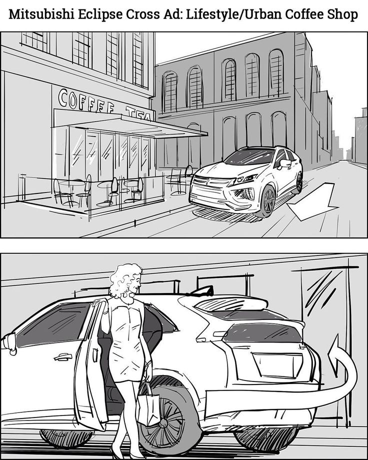 Rough draft for Mitsubishi Eclipse Cross Ad: Fifestyle/Urban Coffee Shop. Storyboards by storyboard artist Cuong Huynh. Got A Script? I'll Storyboard It. _  #woman #car #newcar #urban #city #parking #suv #mitsubishi #drive #driving #driver #coffeeshop #commercial #storyboard #artist #storyboarding #storyboards #drawing #drawings #films #director #filmproducer #filmcrew #filmmaking #filmmaker #preproduction #filmproduction #illustrator #illustration #blackandwhite