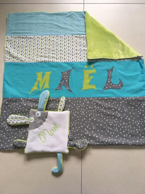 Couverture pour bébé personnalisée, bleu turquoise, vert anis et gris