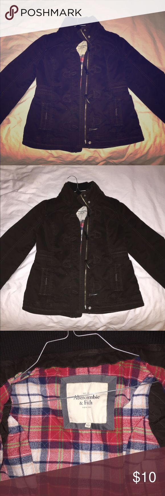 Abercrombie and fitch coat This is a brown women's large coat from Abercrombie and fitch. True to size. Zipper does not work. Abercrombie & Fitch Jackets & Coats