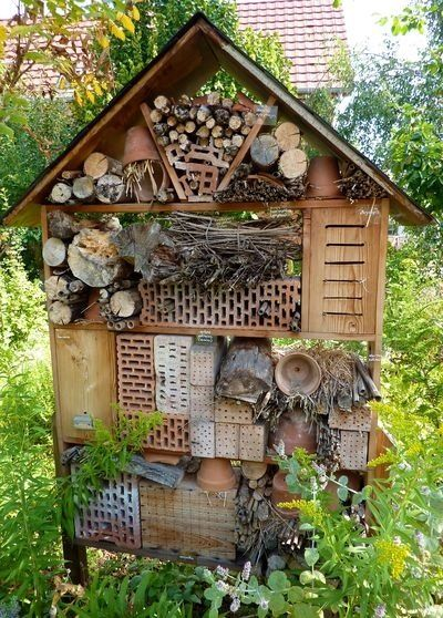 Bug hotel. (Insekten Hotel )A real Challenge to fit all the bits, collected and finally useful!